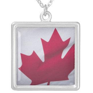 Canadian Flag. Square Pendant Necklace