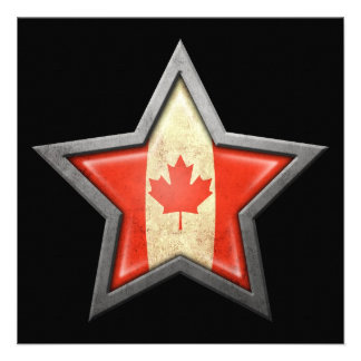 Canadian Flag Star on Black Personalized Announcement