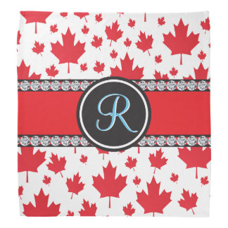 Canadian Flag Trendy Maple Leaf Abstract Monogram Bandana