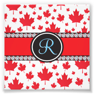 Canadian Flag Trendy Maple Leaf Abstract Monogram Photo Print