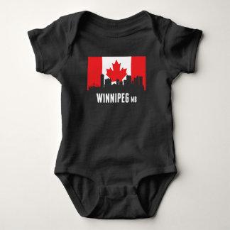 Canadian Flag Winnipeg Skyline Baby Bodysuit