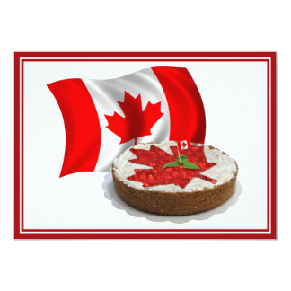 Canadian Flag with Cherry Maple Leaf Cake Announcements