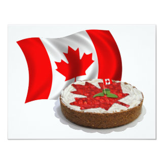 Canadian Flag with Cherry Maple Leaf Cake Personalized Invite