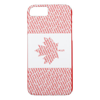 Canadian flag with city and town names phone case