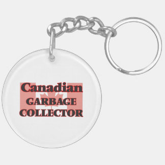 Canadian Garbage Collector Double-Sided Round Acrylic Key Ring