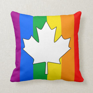 CANADIAN GAY PRIDE MAPLE THROW PILLOWS