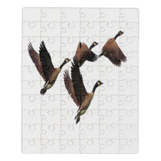 Canadian geese flying in a flock kids design jigsaw puzzle