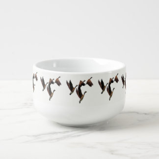 Canadian geese flying in a flock kids design soup mug