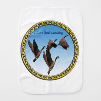 Canadian geese flying together kids design burp cloth