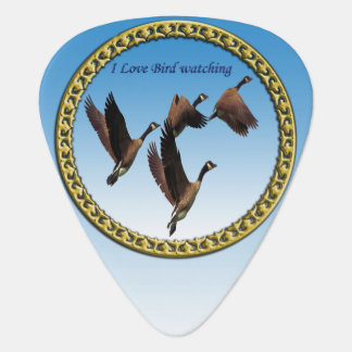 Canadian geese flying together kids design guitar pick
