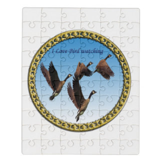 Canadian geese flying together kids design jigsaw puzzle