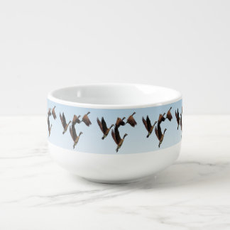 Canadian geese flying together kids design soup mug