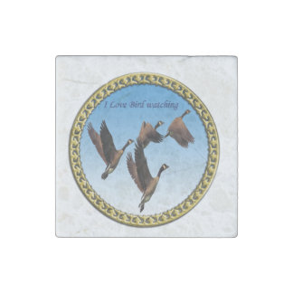 Canadian geese flying together kids design stone magnet