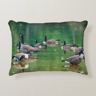 Canadian Geese in an oil painting accent pillow