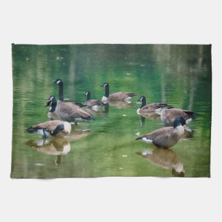 Canadian Geese in an oil painting design towel