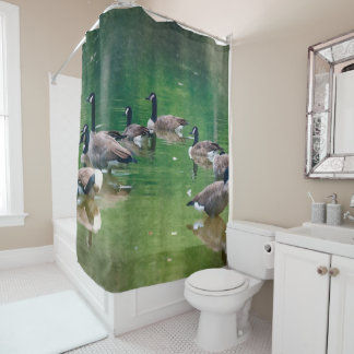 Canadian Geese in an oil painting Shower Curtain. Shower Curtain