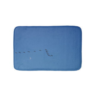 Canadian geese in flight bath mat