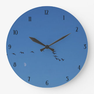 Canadian geese in flight large clock