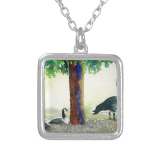 Canadian Geese Silver Plated Necklace