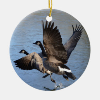 Canadian Geese Taking Flight Round Ceramic Decoration