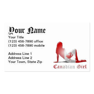 Canadian Girl Silhouette Flag Business Cards
