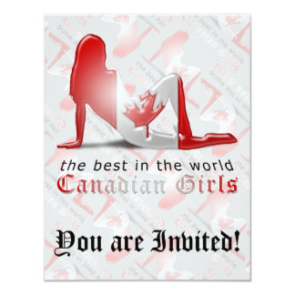 Canadian Girl Silhouette Flag 4.25x5.5 Paper Invitation Card