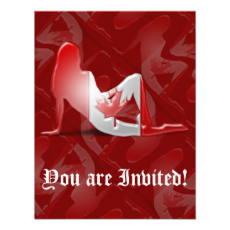 Canadian Girl Silhouette Flag Personalized Invite