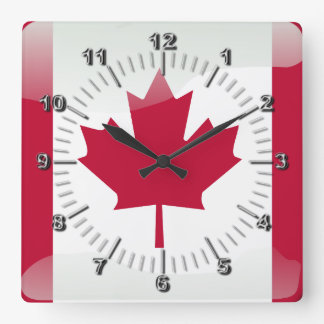 Canadian glossy flag square wall clock