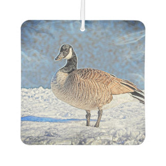Canadian goose in the snow car air freshener