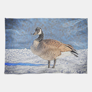 Canadian Goose in the snow Tea Towel