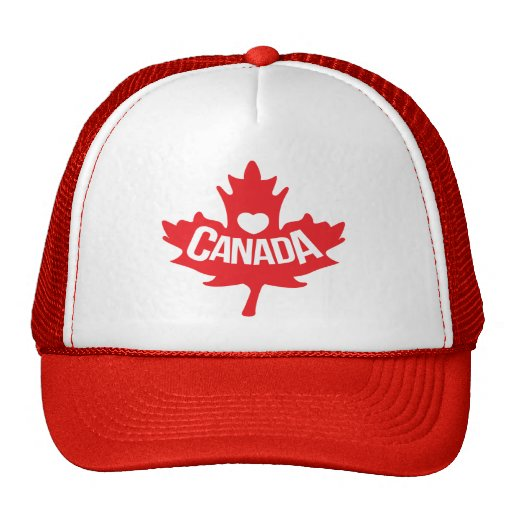 Canadian heart and red maple hat