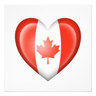 Canadian Heart Flag on White Custom Invitations