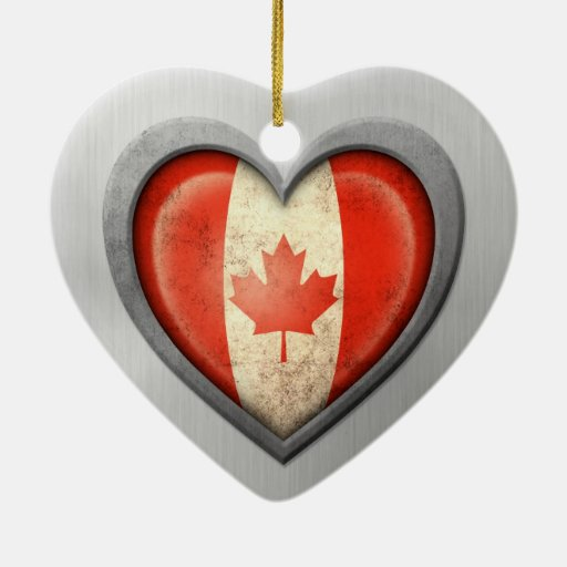 Canadian Heart Flag Stainless Steel Effect Christmas Tree Ornaments