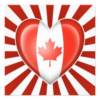 Canadian Heart Flag with Star Burst Custom Invitations