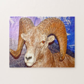 Canadian long horn sheep. jigsaw puzzle