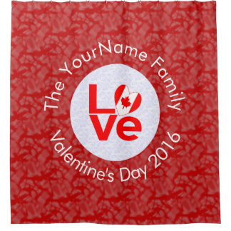 Canadian Love Red Background White Circle Shower Curtain