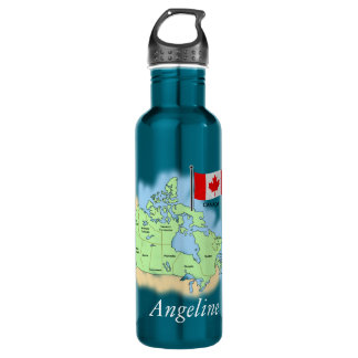 Canadian Map and Flag Liberty Bottle 710 Ml Water Bottle