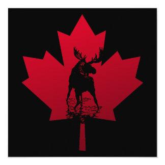 Canadian Maple Leaf and Moose 13 Cm X 13 Cm Square Invitation Card