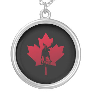 Canadian Maple Leaf and Moose Round Pendant Necklace