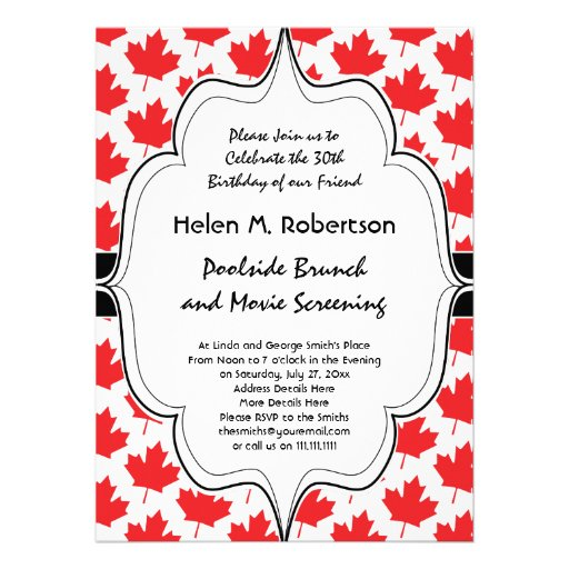 Canadian Maple Leaf Canada Day National Symbol Invites