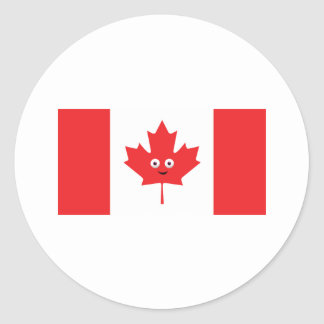 Canadian Maple Leaf Face Classic Round Sticker