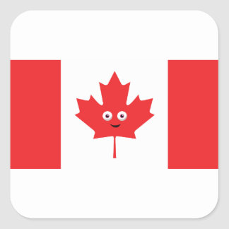 Canadian Maple Leaf Face Square Sticker