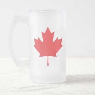 Canadian Maple Leaf Frosted Glass Beer Mug