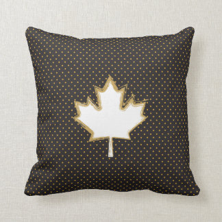 Canadian Maple Leaf on Gold Dots Pattern Cushion