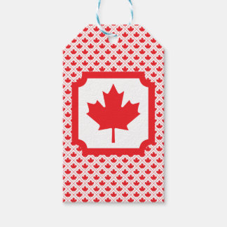 Canadian Maple Leaf Red and White Design Gift Tags