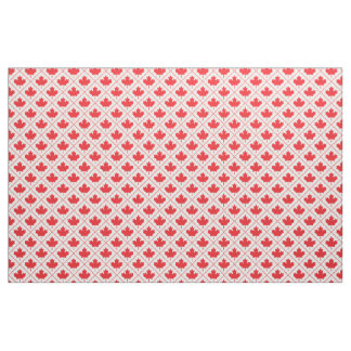 Canadian Maple Leaf Red and White Diamond Pattern Fabric