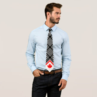 Canadian Maple on Black and White Cross Pattern Tie