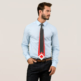 Canadian Maple on Red Black White Pinstripe Tie