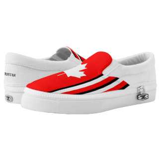 Canadian Maple on Red White Black (cust.) Slip On Shoes