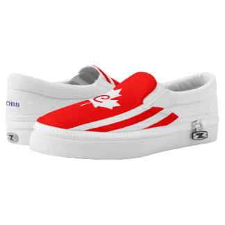 Canadian Maple on Red White  (cust.) Slip On Shoes
